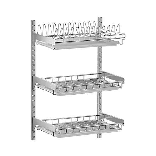 Dish Rack 304 Edelstahl Multifunktionswand Punch Free Layer Höhe einstellbar Küche Lagerung (Farbe : B)