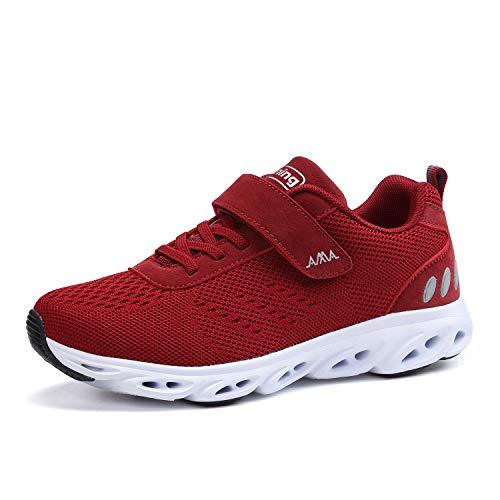 Ulogu Damen Herren Laufschuhe Sportschuhe Outdoor Fitness Schuhe Leicht Atmungsaktiv Turnschuhe Straßenlaufschuhe Sneaker mit Klettverschluss, Rot, 36 EU