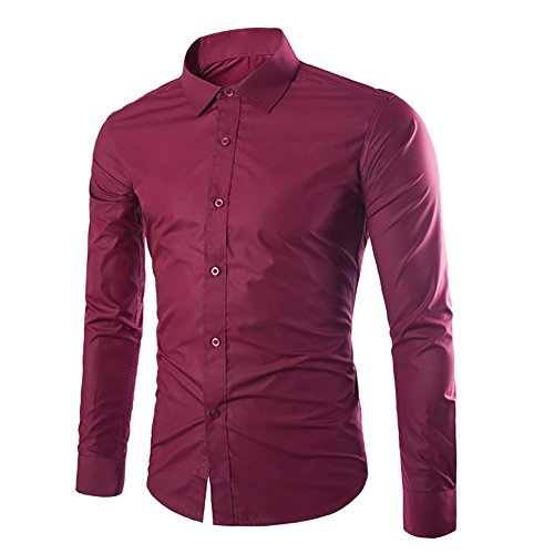 Cloud style Chemise habillee Chemise manches longues unie Coupe slim fit Business-Hommes vin rouge