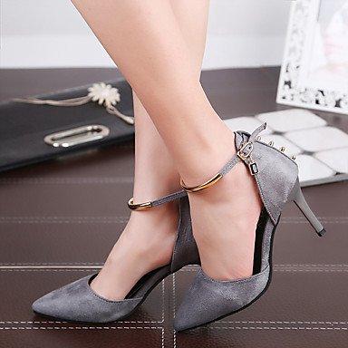 Moda Donna Sandali Sexy donna tacchi Primavera / Estate / Autunno tacchi / Punta abito di pelle / Casual Stiletto Heel fibbia gray