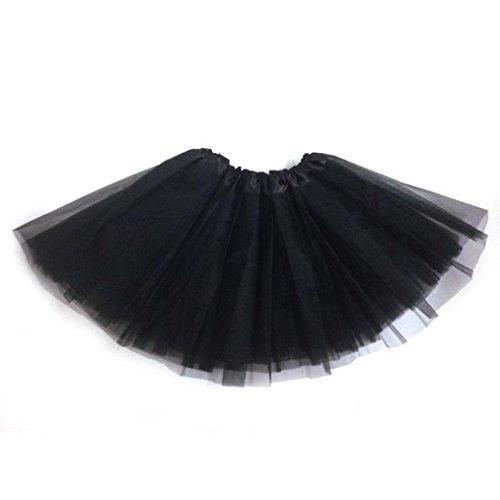 Petticoat Kleid Rock Damen Rockabilly Kleid DAY.LIN 1 STÜCK Hübsches Mädchen Elastisches Stretchy Tüll Kleid Erwachsenen Tutu 3 Schicht Rock (Schwarz) (Wenig Damen-schuhe)