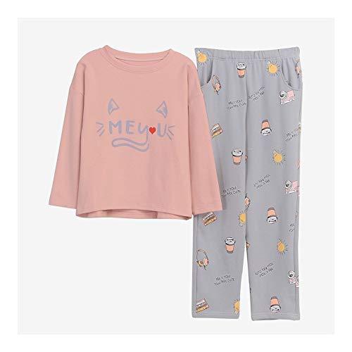 HAOLIEQUAN Startseite Kleidung Frauen Pyjamas 2 Herbst Winter Plus Size Pyjama Set Weibliche Nachtwäsche Kawaii Nacht Anzug Nachtwäsche, B, L