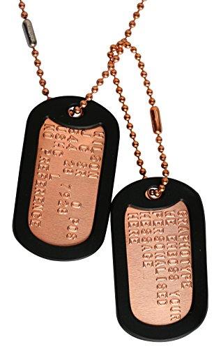 Kupfer: 2 personalisierten Erkennungsmarken im Armeestil mit Kugelkette & Schalldämpfern (Militärische Personalisierte Dog Tags)