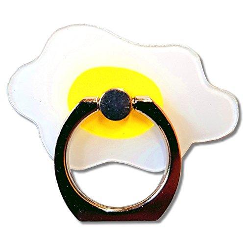 EROSPA® Ring-Fingerhalterung für Smartphone Handy Tablets - Spiegelei/Fried Egg - Haltegriff - Ringhalter gleichzeitig Tisch-Ständer - 360° drehbar- 180° schwenkbar