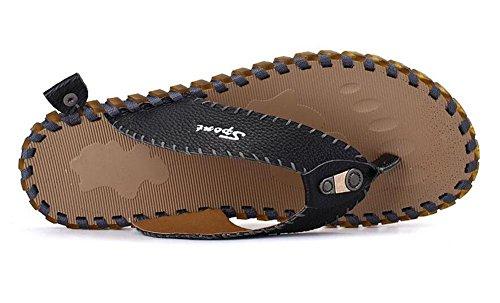 SHIXR Männer öffnen sich zurück Hausschuhe Sommer neue Figuren Flip Männer Mode Trend Leder kühlen Pantoffeln Männer Sandalen Black