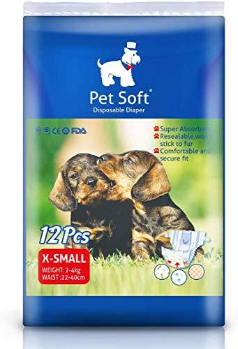 Pet Soft Femmina Cucciolo di Cane Pannolini USA e Getta Super Assorbente Sanitario Pantaloni Pannolini Disponibili Varie Dimensioni (XXS-M) (XS 12count)