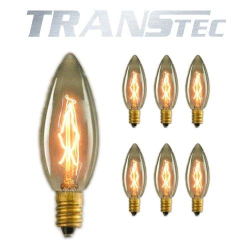 TRANSTEC 6Pack 40W Vintage Edison Glühbirne–Retro Altmodisch Kandelaber Industrie dimmbar dekorative (Einzelne Kandelaber)