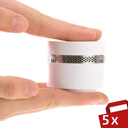 4smile Mini Rauchmelder Design 5er Set - Feuermelder optisch schön, extra-klein und dennoch sicher gemäß DIN EN 14604 - Brandmelder mit 10 Jahres Batterie, kein Batteriewechsel nötig