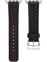 MYQyiyi Clásico Correa de Cuero de Pulsera Retro de Reloj Inteligente para Apple Watch (Negro, 42MM)