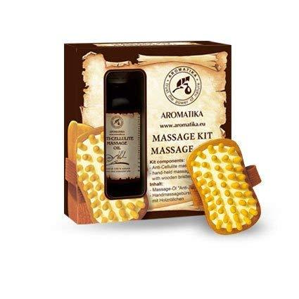 Anti Cellulite Öl 100ml - Massageöl & Massagebürste - Geschenkset mit Massageöl - Anti Cellulite Öl 100% Natürliche - Mischung aus Ölen - Jojobaöl - Traubenkernöl - Zitronenöl