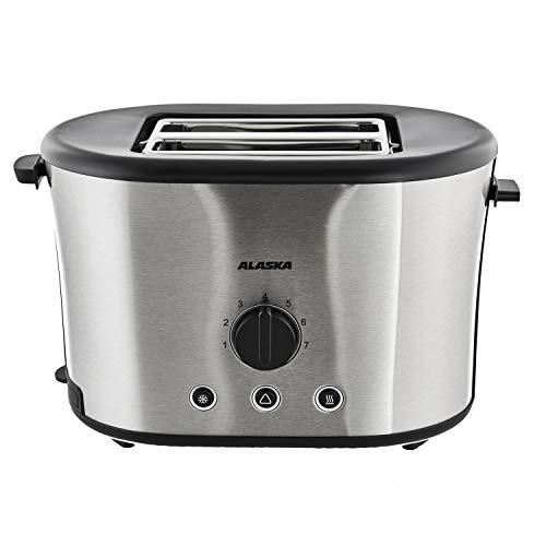 ALASKA Toaster TA 2230 S | 7 Stufen | elektronische Röstgradkontrolle | Automatische Brotzentrierung | Brötchen-Röstaufsatz | Krümelschublade | Auftauen | Aufbacken | Edelstahlgehäuse | 730-870 Watt