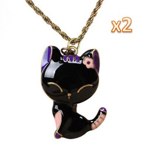 SODIAL(R) Paquete de 2 - Collar de Cadena Colgante de Gato Glaseado -Negro Rosa&Purpura