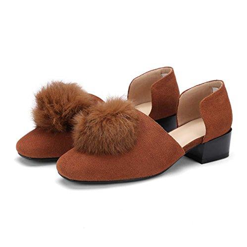Onfly Dames des sandales Boule de poils Pied carré givré Les pompes Talon bas chaussures Brown