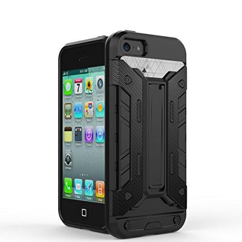 JIALUN-Telefon Fall IPhone5s SE Fall, PC + TPU abnehmbares 2 in 1 rückseitige Abdeckung Kühler Telefonkasten ( Color : Brass , Size : Iphone5s Se ) Black