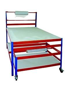 Profi-Verpackungsstation 2, HxBxT: 150x180x120 cm, 300 KG/Holzboden, inkl. Rollwagen 55x80x120 cm, blau/orange (Packtisch Rollenhalter Arbeitstisch Werktisch)