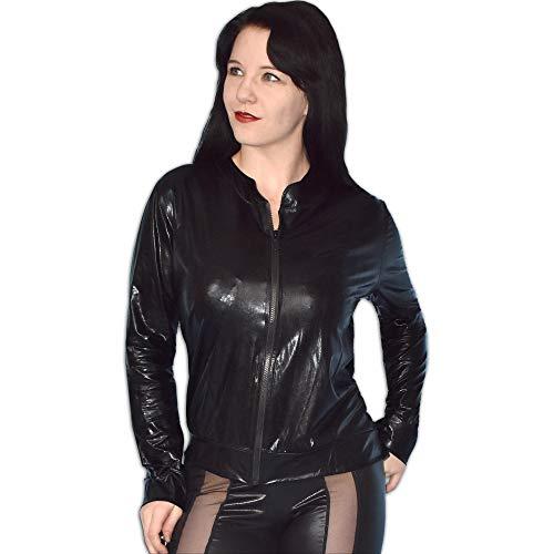 Weiche Lackjacke in schwarz mit Reißverschluss, Damen Shirt