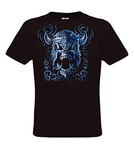 DarkArt-Designs Blue Viking Skull - Wikinger Schädel T-Shirt für Damen und Herren - Gothicmotiv Shirt Metal Biker Rocker Fun Party&Freizeit Lifestyle regular fit, Größe XXXL, schwarz