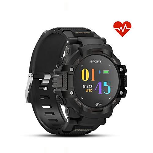 Preisvergleich Produktbild DTNO.I Smart Watches GPS Smart Sportuhr Fitness Tracker Smartuhr IP67 Wasserdicht Armbanduhr Bluetooth Kompatibel Android / IOS für Herren Damen Kinder(Schwarz)