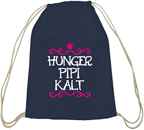 Shirtstreet24, Hunger Pipi Kalt, Prinzessin Baumwoll natur Turnbeutel Rucksack Sport Beutel dunkelblau natur