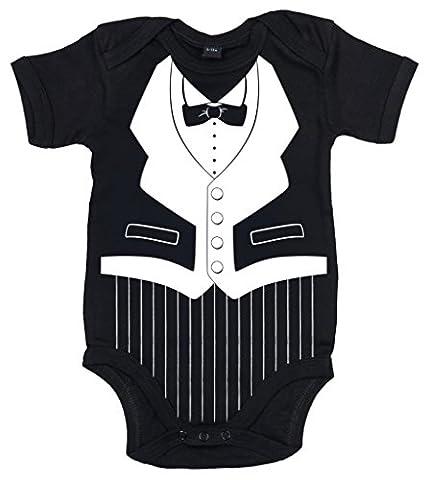 Dirty Fingers, Tuxedo avec nœud papillon, Body Bébé, 3-6m, Noir