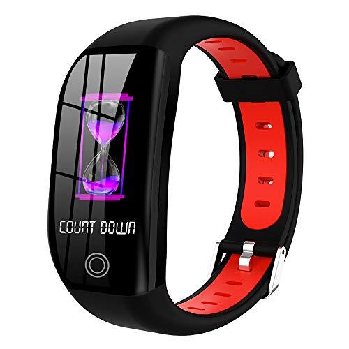 QUARKJK Smart Armband IP68 Wasserdicht Blutdruck Schlaf SMS Smart Band Gesundheit Armband Fitness GPS Activity Tracker Smart Watch,Red - Red Watch Gold