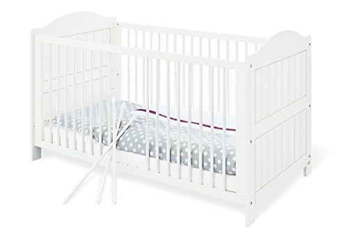 Pinolino - 111617 - Kinderbett Nina 140 x 70 cm - mit 3 Schlupfsprossen, aus vollmassiver Fichte, weiß lasiert