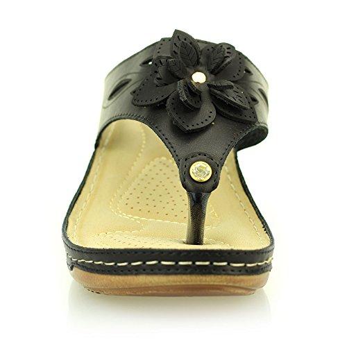 Femmes dames soir casual confort enfiler compensé sandale chaussures taille (Noir, Camel) Noir