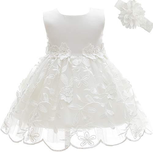 AHAHA Baby Mädchen Prinzessin Kleid Blumenmädchenkleid Taufkleid Festlich Kleid Hochzeit Partykleid Festzug Babybekleidung 3M/0-5Monat Weiß 2