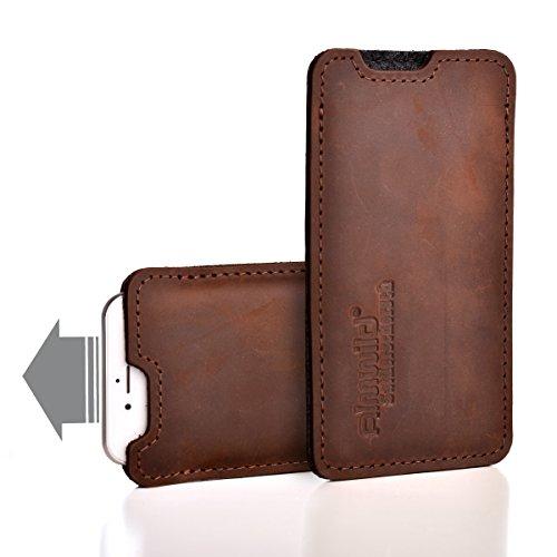 Almwild® Hülle, Tasche für Apple iPhone Xr/iPhone 10r MIT Apple Leder Case/Silikon Case. Aus echtem Rinds- Leder. In Braun. Handyhülle in Bayern handgefertigt. Modell Sattlerschorsch -