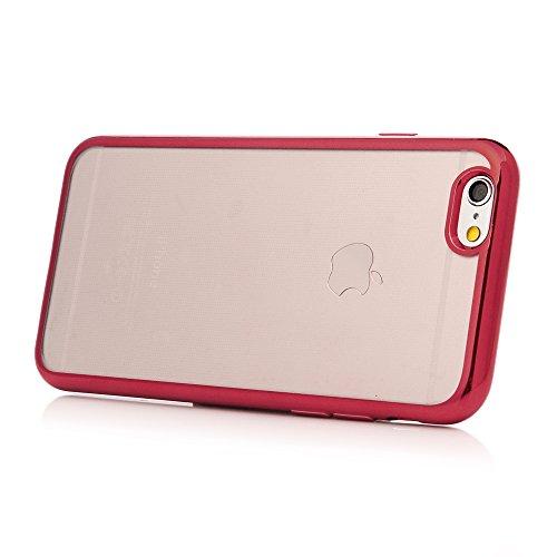 iPhone 6/6s Hülle Badalink 3 Stück Überzug TPU Silber Case Cover Ultraslim Handyhülle Schutzhülle Silikon Schutz Tasche Schale Transparent Antikratz Backcover Rot