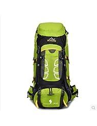 Camping senderismo al aire libre montañismo bolso lluvia tapa mochila de gran capacidad para hombres y mujeres 50 L + 5 L , light green