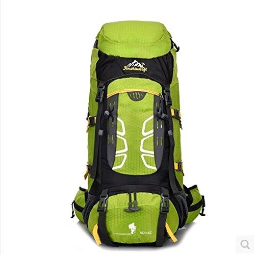 Camping Wandern Outdoor Bergsteigen Tasche regen Abdeckung großer Kapazität Rucksack für Männer und Frauen 50 L + 5 L light green