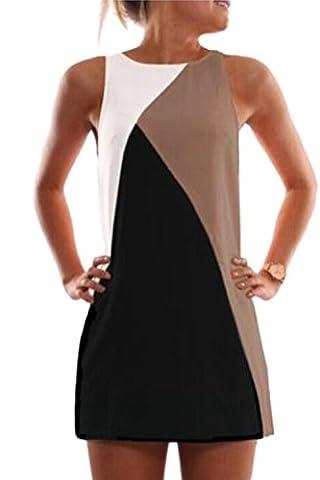 Women's Elegant Sleeveless Scoop Neck Colorblock Summer Dress Khaki M