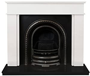 Adam The Portland Fireplace Suite in Sparkly White and Black Granite with Bedford Back Panel Set, 54 Inch