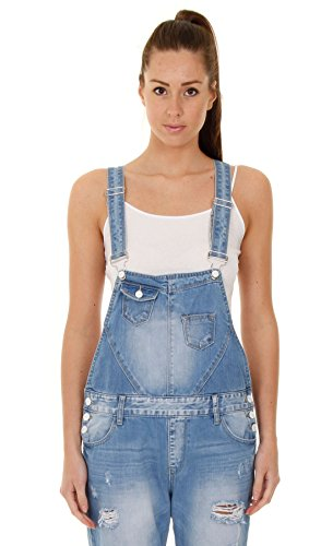 Damen-Latzhose - Hellblau Overalls für damen denim jean mode WOMDE12-UK 10