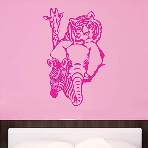 stickers muraux fée clochette Tigre Girafe Éléphant Zèbre Animal pour chambre d'enfants chambre d'enfant