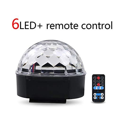 tal Magic Ball Lights 81 Objektiv-Bühnenlampe 9LED Strobe-Projektion 360 ° -Drehung für DJBar-Party (Farbe : 6LED+Remote Control) ()