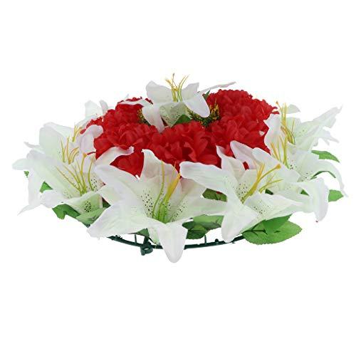D DOLITY Seiden Chrysantheme und Lily Blumen Kranz Kunstblumen Grabblumen als Grabschmuck Grabgesteck und Grabdekoration - Rot-Weiss (Grab Blumen Kranz)