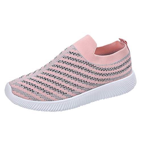 Damen Sportschuhe Slip ons Strick Sneaker Leichte Turnschuhe Atmungsaktiv Freizeitschuhe Outdoor Gym Bequem Freizeitschuhe Lässige Wanderschuhe Socken Sport Schuhe (36, Rosa)