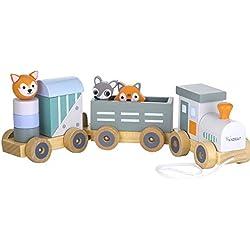 Kindsgut Petit Train en Bois et Cubes de Construction, Jouet en Bois bébé, Les Animaux du Zoo, Rayures