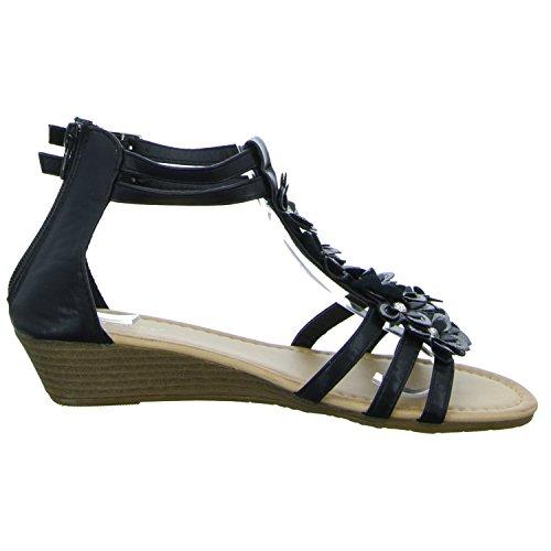 ideal shoes JT-2411 Damen Sandalette eleganter Boden Schwarz (Schwarz)