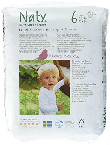 Naty by Nature Babycare 4 paquets de 18 Couches Écologiques Jetables Taille 6-16 kg (72 couches)