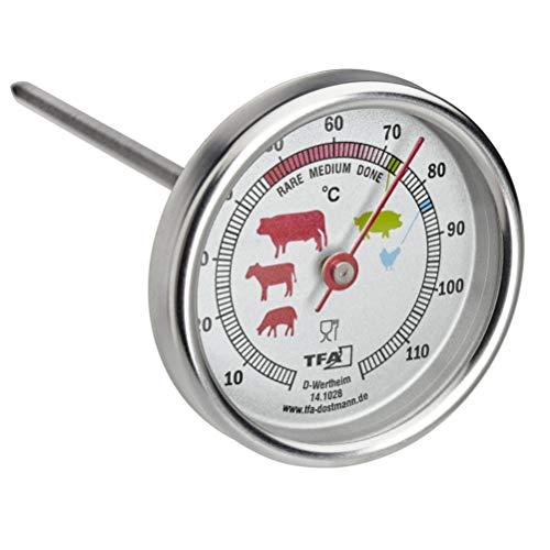 TFA Dostmann Analoges Bratenthermometer aus Edelstahl, 14.1028, silber