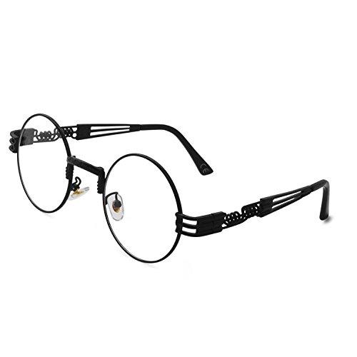 AMZTM Retro Vintage Steampunk Sonnenbrille Klassischer Kreis Hippie Anti Blaues Licht Computer Brille Herren Damen Runder Metallrahmen UV400 Schutz Alte Mode Brille (Schwarz Rahmen Klare Linse, 49)