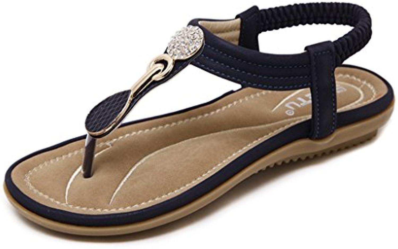 Bao Xing Bei Firm Peep-toe sandalias elásticas de la correa/zapatos planos ocasionales del diamante artificial...