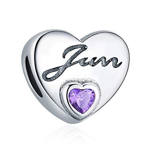 Geburtstag Stein-Serie Juni Alexandrit, Herz Armband Armreif Charme Sterling Silber S925 für Damen ... (Floating-charme-armband)