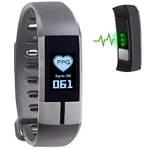 Newgen Medicals Fitnessuhr: Fitness-Armband mit Blutdruck-, Herzfrequenz- und EKG-Anzeige, IP67 (EKG Uhr)