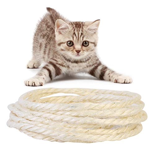 Ofanyia Diameter 6mm Cat Natural Twisted Sisal Rope For Cat Scratching Post  Replacement Hemp Rope for Repairing Recovering or DIY Scratcher Twine