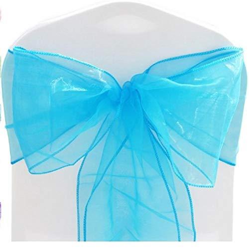 Bogen Zurück Stuhl (KFYOUXIN Satin Schärpe Stuhlabdeckung Hochzeitsessen Bogen Schleife Krawatte Zurück Hochzeitsfest Bankett Dekor Hochzeitsbankett Party Satin Schärpe Sky Blue)