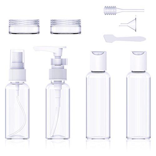 Reise Flaschen Set, Splaks 9 Stück Tragbar Reiseflasche Multi-Size-Container Kulturbeutel Transparente Travel Bottle für Shampoo, Lotion, Cream, Körperpflege, Sonnencreme -